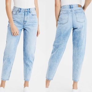 American Eagle Relaxed Mom Jean Light Wash Blue 8